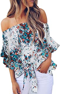Asvivid Womens Floral Off The Shoulder Tops 3 4 Flare Sleeve Tie Knot Blouses and Tops