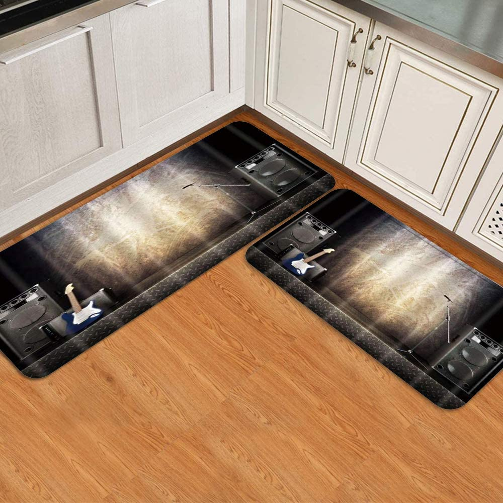 COVASA Kitchen Rugs and Mats 2 Instrument Show Max 85% OFF Guit Music Pieces Columbus Mall