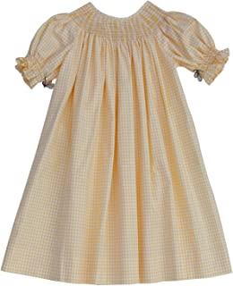 Pleated and Ready to Smock Girls Bishop Dress in Yellow Gingham