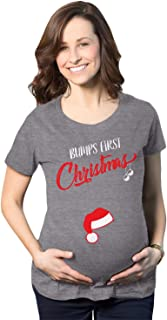 Bumps First Christmas Maternity Shirt Funny Holiday Party Tee For Pregnant Women