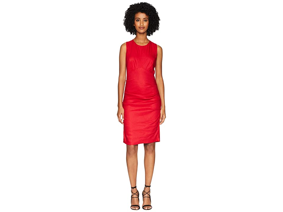 Nicole Miller Cross-Back Tuck Dress (Cranberry) Women