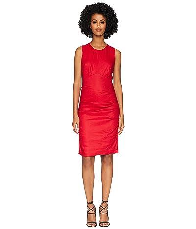 Nicole Miller Cross-Back Tuck Dress (Cranberry) Women