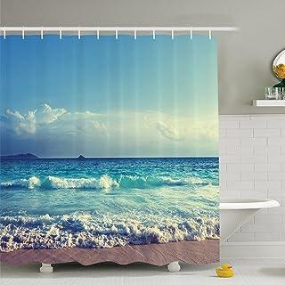 Moonlight シャワーカーテン 防水防カビ加工 カーテンリング付属 180 x 180cm 人気商品バスルームカーテン (クリーム)