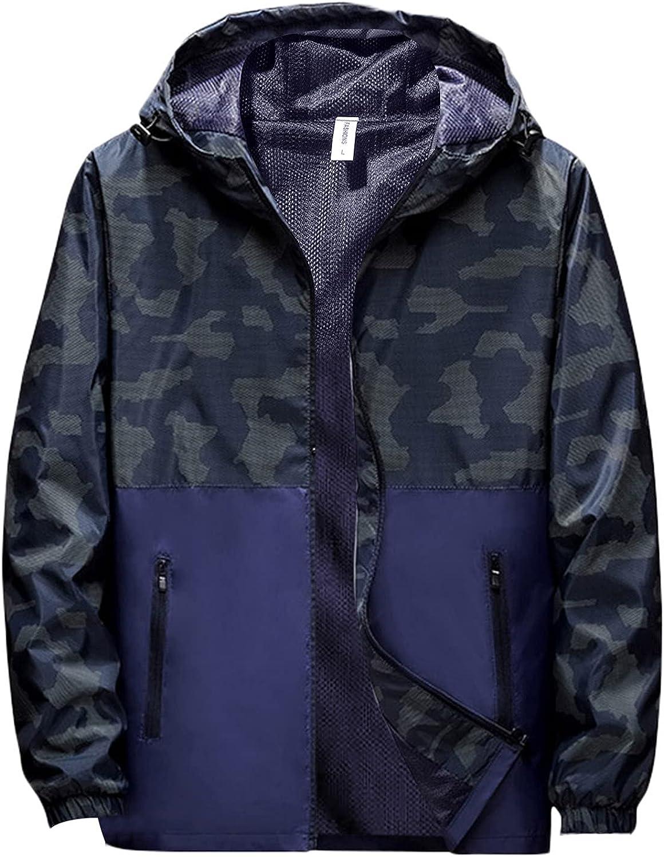Jacket for Men Casual Hooded Windproof Thin Coat Fashion Camo Prints Lightweight Waterproof Windbreaker Outwear