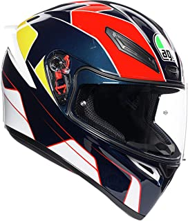 AGV Unisex-Adult Full Face K-1 Pitlane Motorcycle Helmet (Blue/Red/Yellow, Medium/Large)