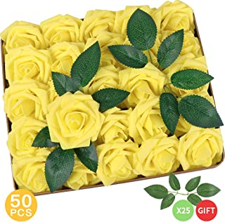AmyHomie Pack of 50 Real Looking Artificial Roses w/Stem for DIY Wedding Bouquets Centerpieces Arrangements Party Baby Shower Home Decorations, Yellow