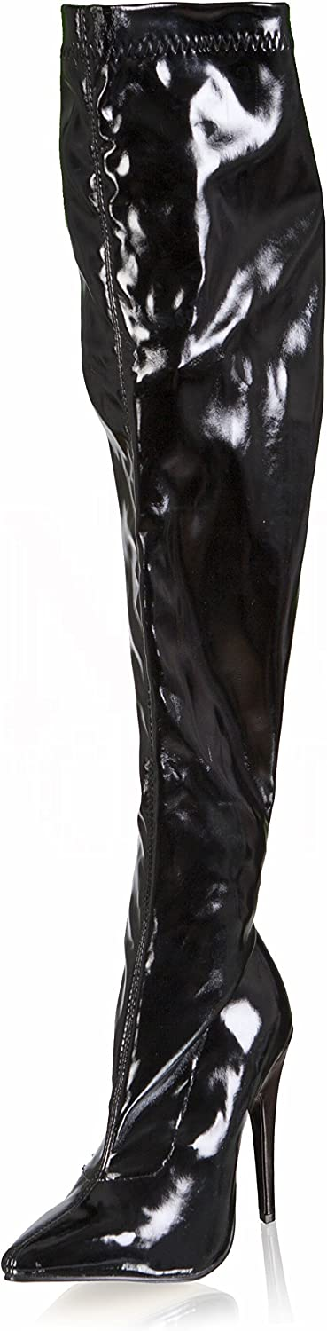 Ellie shoes Sexy Thigh High Black Stretch Boots 5  High Heel 511-ALLY BLK-12