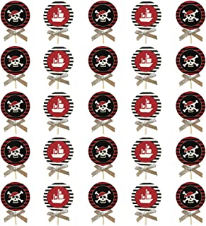 Cabilock 25pcs Halloween Pirate Cake Toppers Cupcake Toppers Kids Pirate Theme Birthday Baby Shower Cake Decorations Party...