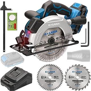 G LAXIA Circular Saw,20V 4300 RPM Cordless Circular Saw,Maximum Cutting Depth 90° 65mm/45° 43mm,2.0Ah Li-Ionen Battery,165...