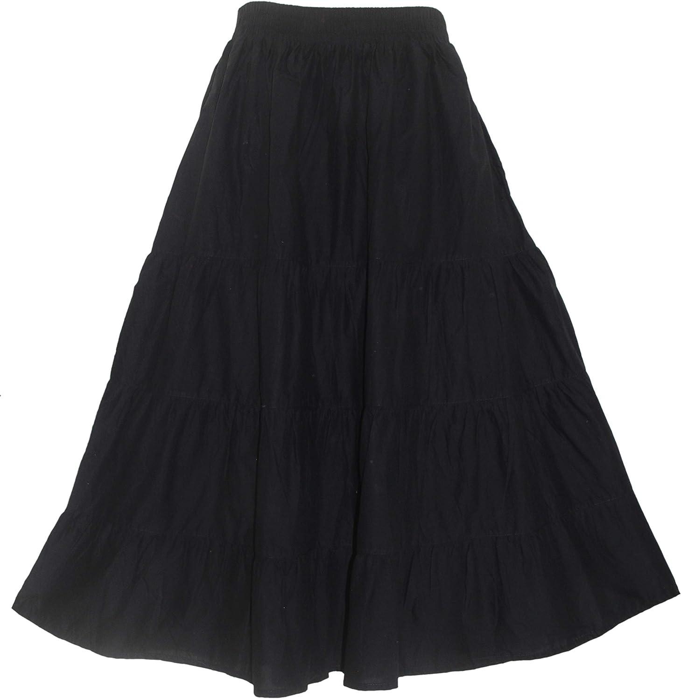 Beautybatik Women Cotton Plus Size Boho Gypsy Long Maxi Tier Skirt with Pockets