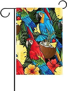 Duble cara Colorful Macaw Parrot y Tropical cóctel leche de coco Palm Árbol piña flor floral