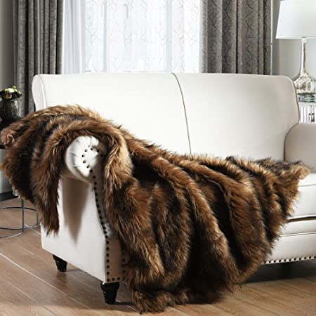 Luxury Plush Faux Fur Throw Blanket, Long Pile Brown with Black Tipped Blanket, Super Warm, Fuzzy, Elegant, Fluffy Decoration Blanket Scarf for Sofa, Armchair, Couch and Bed, 50''x 60''