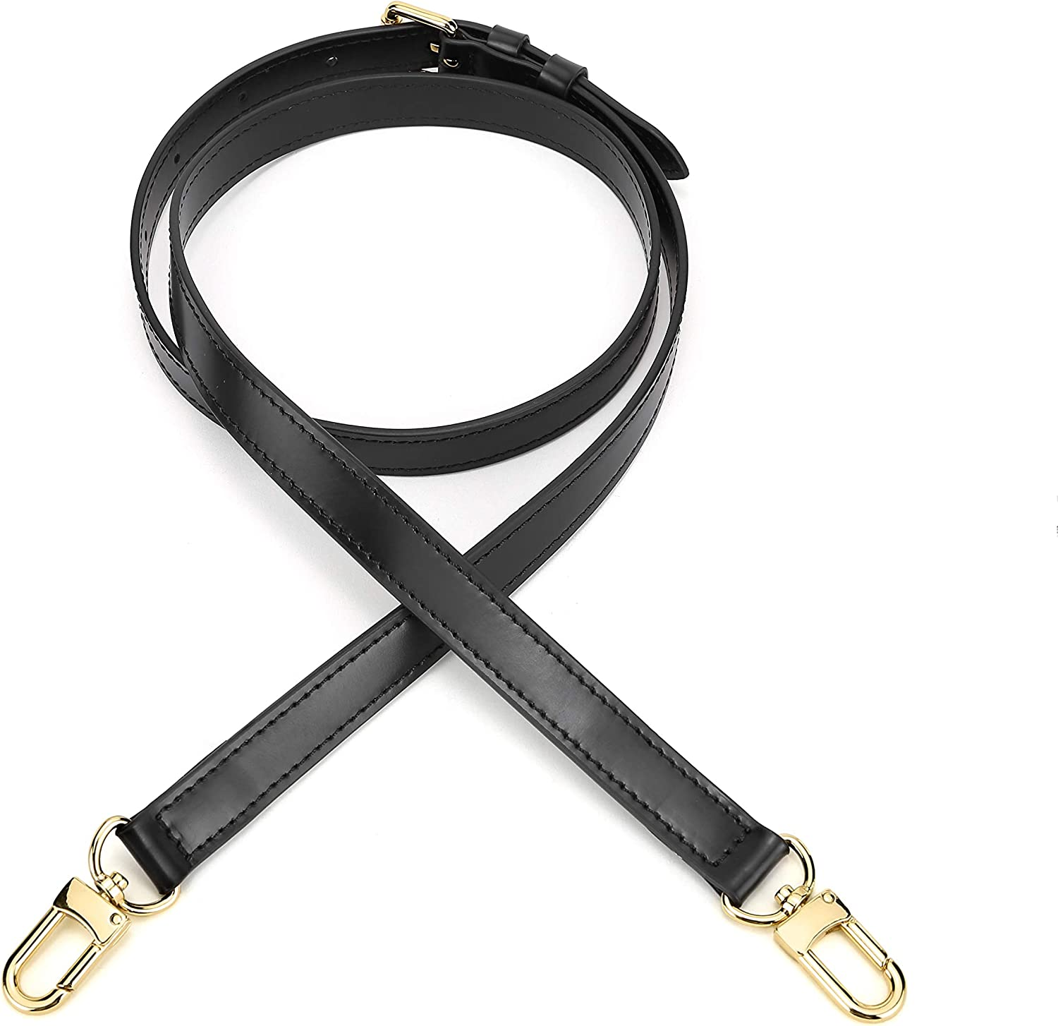 46.5 inch 118CM  Adjustable genuine leather  shoulder cross body bag purse strap with hooks replacement Dark with bronze hardware