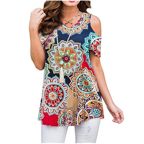 4c6e6385c8f ZZER Women's Casual Floral Print Cold Shoulder Tunic Tops V-Neck Criss  Cross T-