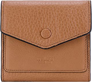 Women's Small Leather Wallet RFID Card Holder Compact Ladies Billfolds Flat Pocket Purse (Natural Light Brown)
