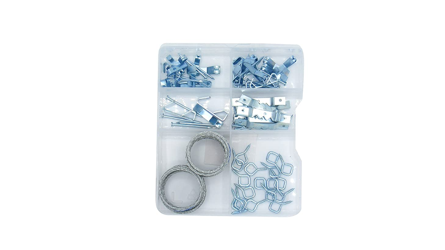 Assorted Hanging Kit for Photos, Pictures, Clocks, Mirrors, Paintings, Artwork, and Canvases. Includes Picture Frame Hook, Hooks, Nails, Saw-Tooth Hangers, and Hanging Wire