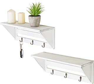 MyGift Set of 2 Vintage White Wood 16-Inch Wall Shelves with Key Hooks