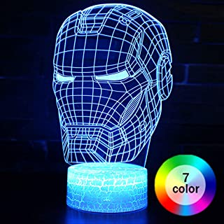Iron Man 3D Night Light, XXMANX LED 7 Colors Changeable Illusion Lamp USB Powered Touch Switch with Crack Base Bedside Decor Lamp for Boys Kids Gifts (Iron Man Type 3)