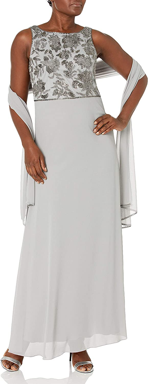 J Kara Women's Sleeveless, Floral Beaded Long Dress