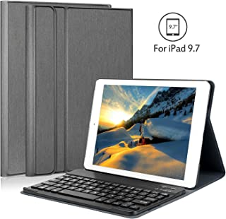 iPad 9.7 Keyboard Case, Earto Slim Detachable Keyboard Case Folio Stand PU Leather Cover with Keyboard for New iPad 9.7/iPad Pro 9.7/iPad Air 2/iPad Air-Black