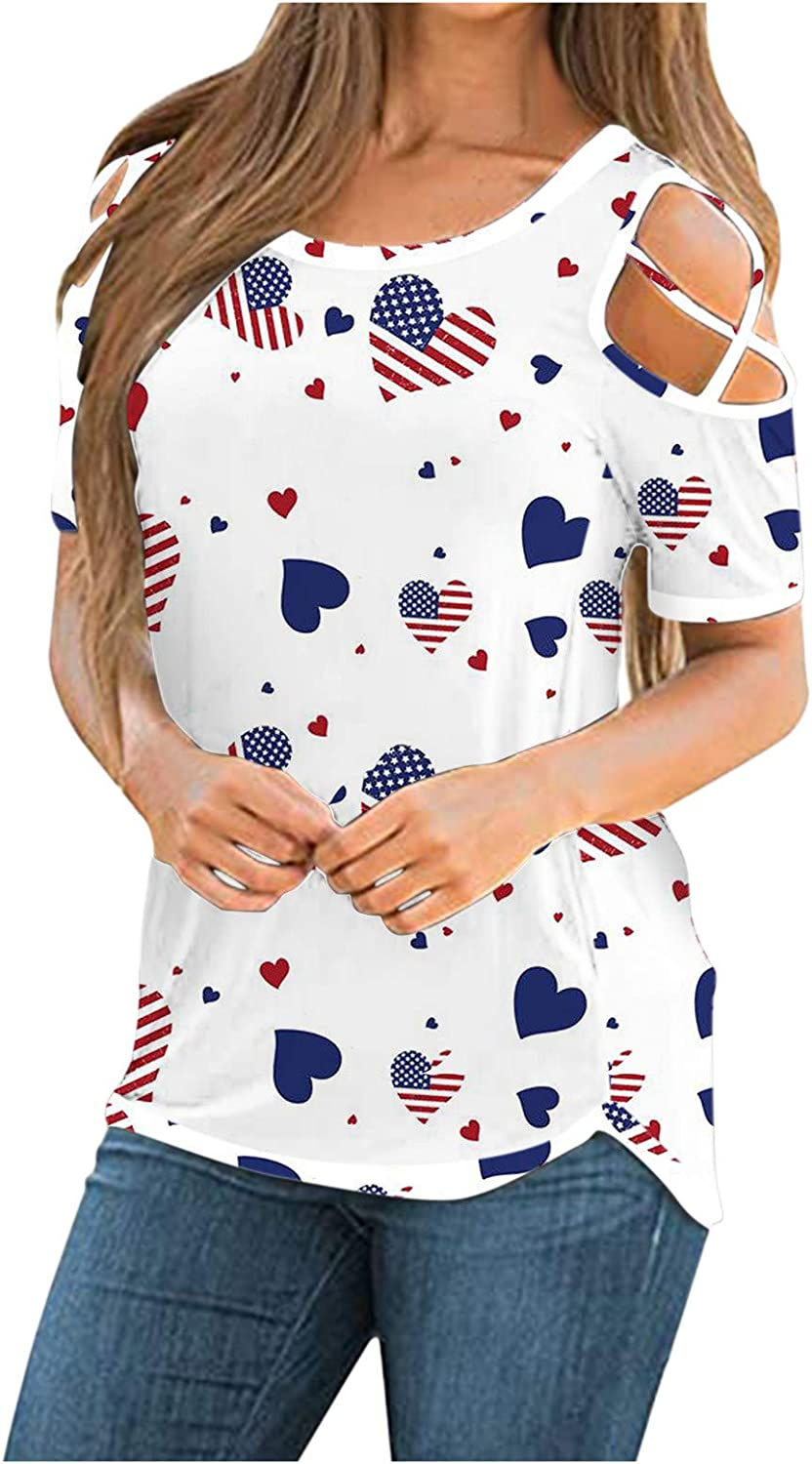 Cold Shoulder Tops for Women,Womens Tshirts Short Sleeve Summer Tops Strappy Cold Shoulder Shirts Crew Neck Tee Tunic