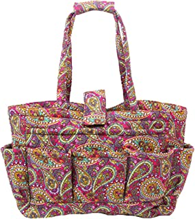 Floral Quilted Cotton Needle Bag Knitting Bag Yarn Storage Tote (Paisley Pink)