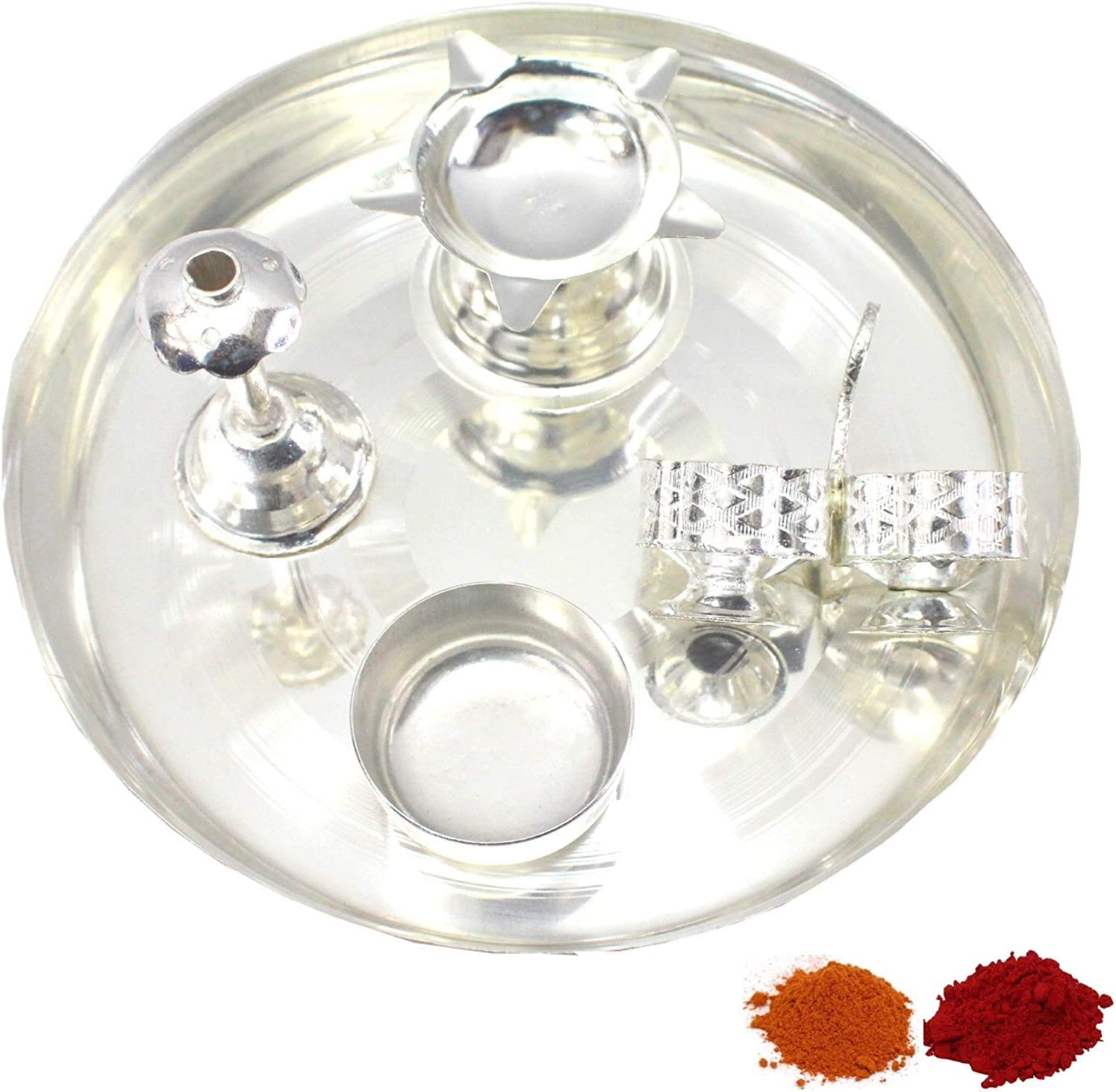 NOBILITY Silver Plated Pooja Thali Classic Occasional Set Inch 6 Free Washington Mall shipping