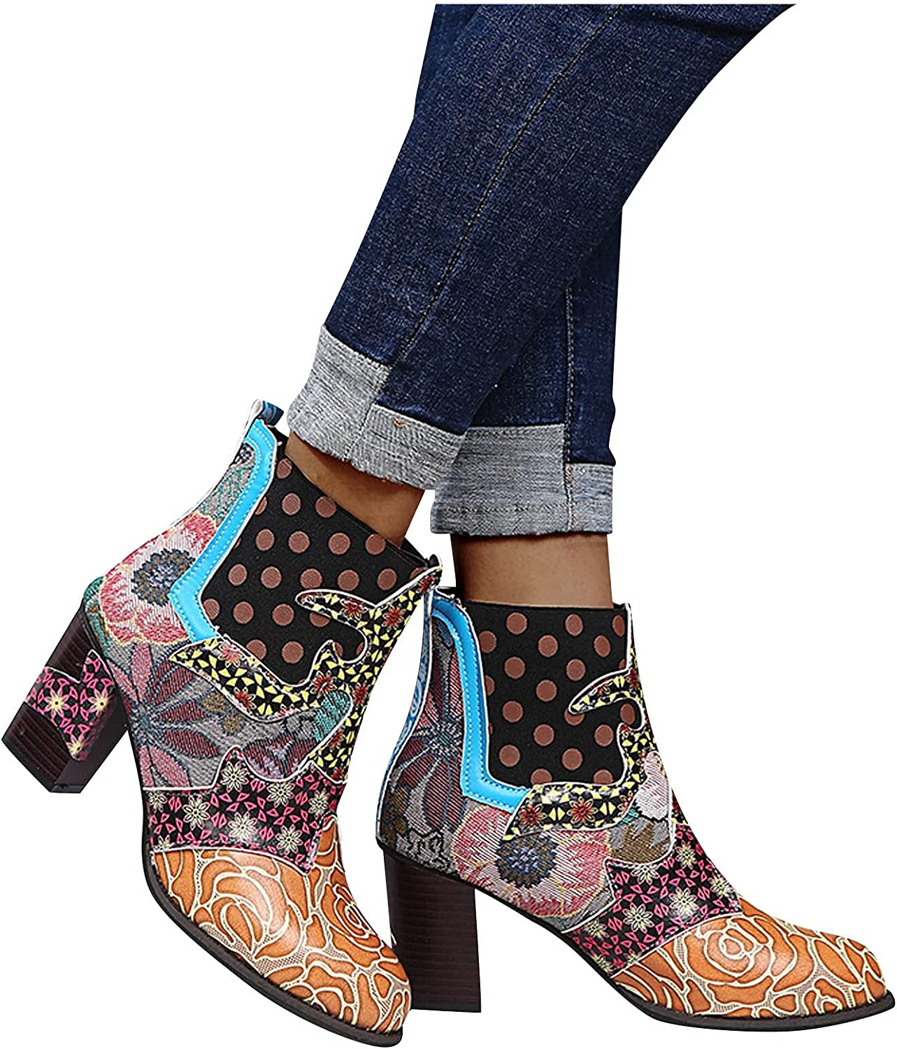 Boots for Women Platform Boots, Vintage Zipper Ankle Booties Western Boots Chunky High Heel Combat Boots Motorcycle Boots