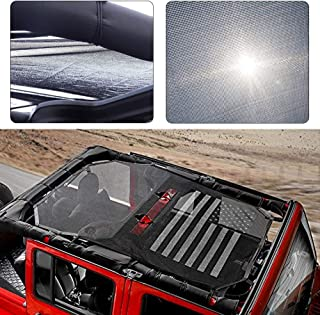 Black Durable Sunshade Mesh Top Cover Provides UV Sun Protection for 2007-2017 Jeep Wrangler JKU 4 Door America US Flag