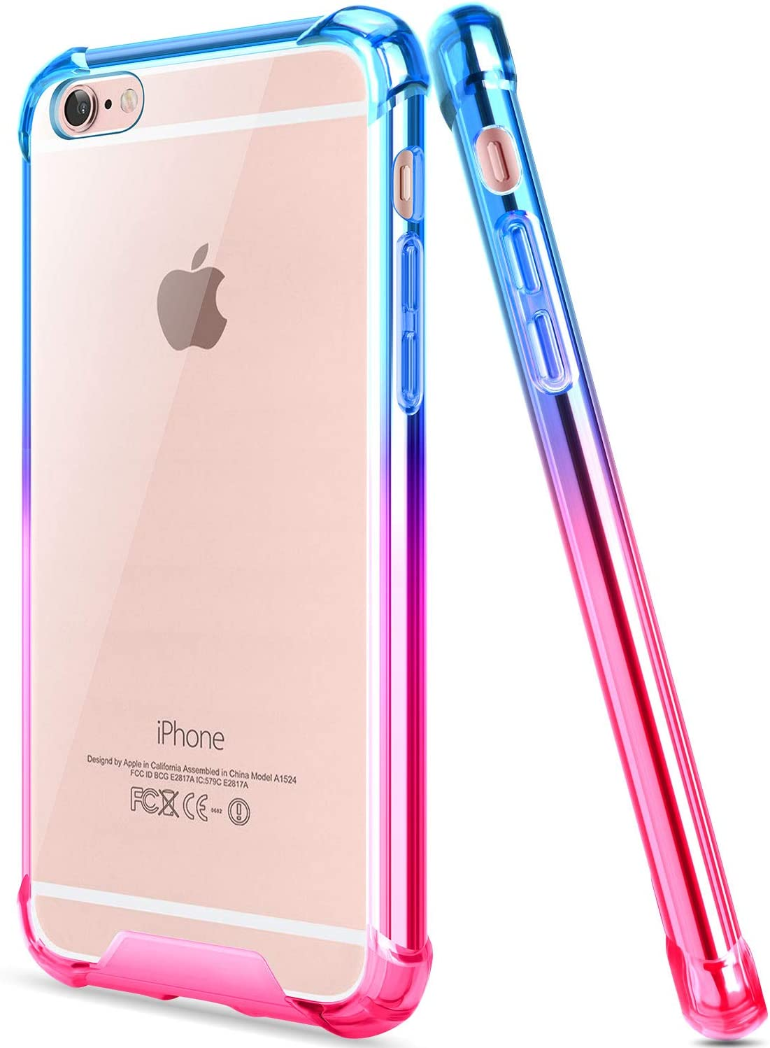 Salawat for iPhone 6 Case, Clear iPhone 6s Case Cute Anti Scratch Slim Phone Case Cover Reinforced TPU Bumper Shock Absorption Protective Case for iPhone 6/6s 4.7inch (Blue Pink)