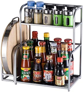 QQXX 2 Layers Kitchen Shelf with Cutting Board Rack, Wall Mountable Insert Tool Holder/Spice Rack