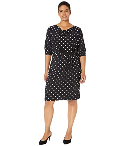 LAUREN Ralph Lauren Plus Size Trava Dress (Black/Colonial Cream) Women