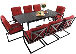 Sophia & William Patio Dining Set 9 Piece Expandable Outdoor Table Furniture Set with 8 Metal Spring Motion Dining Chairs ...