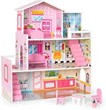 ROBUD Wooden Dollhouse with Furniture, Doll House Playset for Kids Girls, Gift for Ages 3 Years