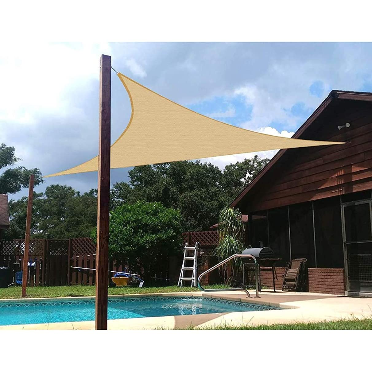 Awnings 4.5'x 4.5'x4.5' Garden Shade Sail Waterproof and Mildew 95% Uv Protection Triangle for Garden Pool Terrace Custom Size