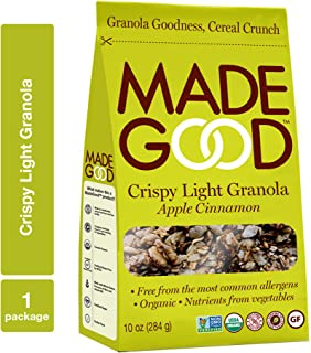 MadeGood Apple Cinnamon Crispy Light Granola (10 oz.); Contains Nutrients of One Serving of Vegetables; Gluten-Free Oats, Sweet Apples, Spicy Cinnamon; Organic, Nut-Free, Allergen-Free Granola Cereal
