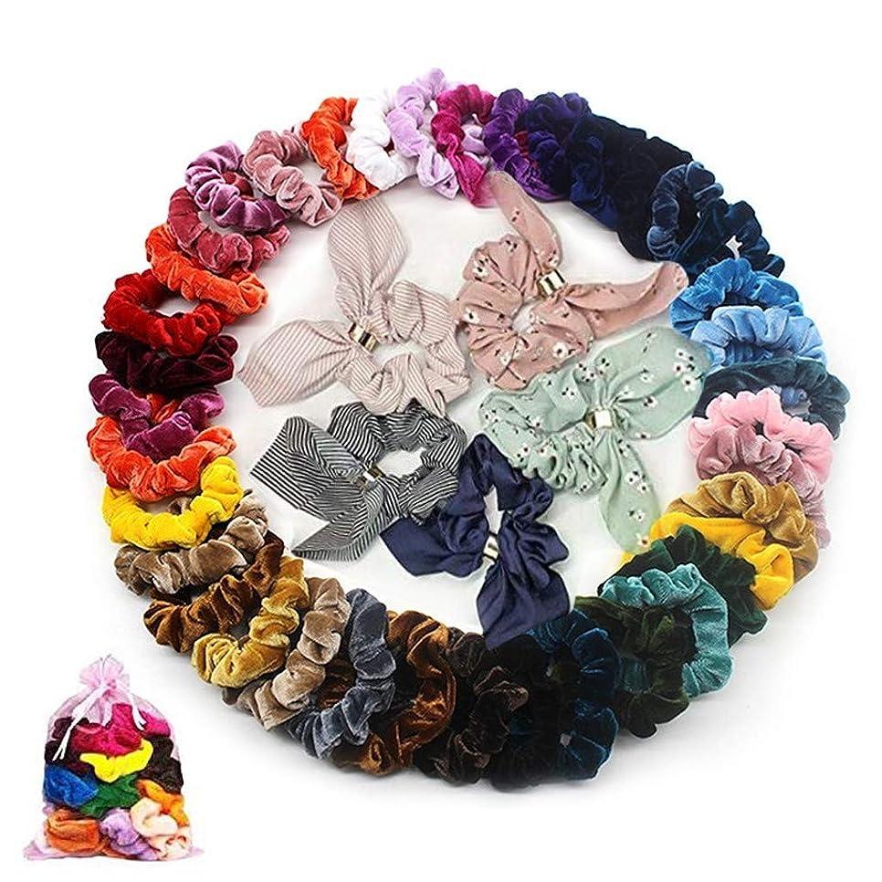 汚すパイプラインビロードのヘアライン 50個 女性や女の子のためのベルベット弾性ヘアバンドヘアアクセサリー 明るい色 複数の色 (多色)