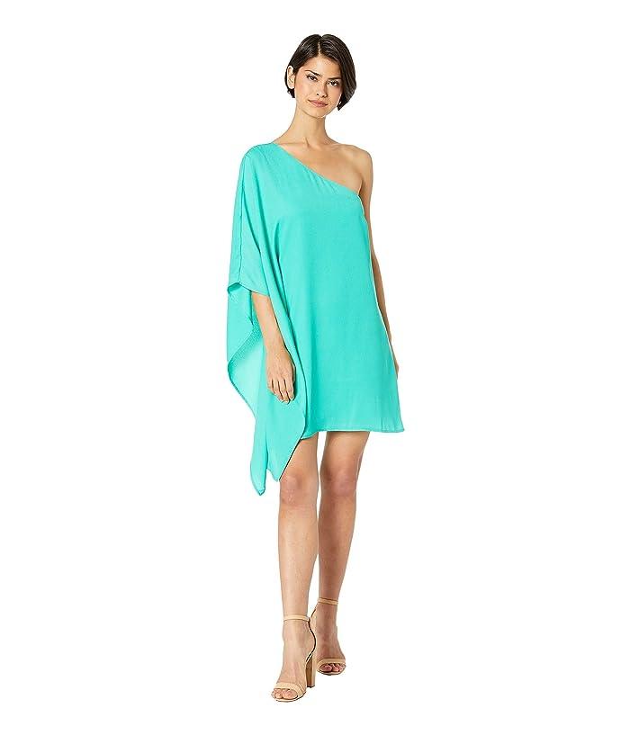 Cupcakes and Cashmere Deliz Crepe One Shoulder Cape Sleeve Dress (Leaf Green) Women