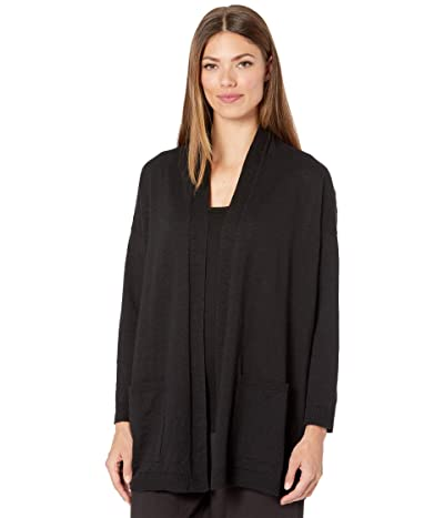 Eileen Fisher Organic Cotton Linen Slub High Collar Cardigan (Black) Women