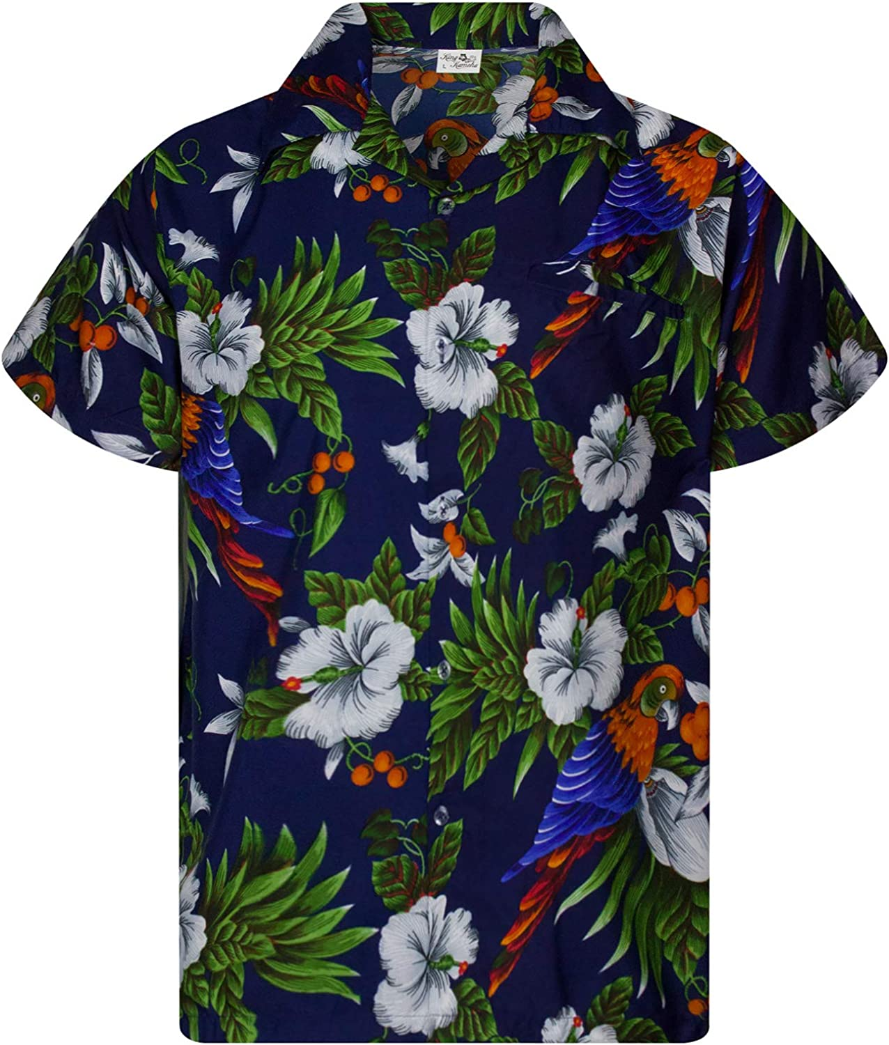 KING KAMEHA Funky Casual Hawaiian Shirt for Kids Boys and Girls Front Pocket Very Loud Shortsleeve Unisex Cherry Parrot Print
