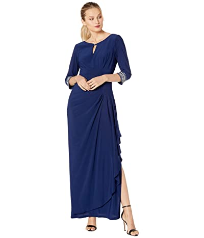 Alex Evenings Long A-Line Dress with Embellished Keyhole Cutout Neckline Embellished Sleeves (Cobalt) Women