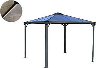 Palram HG9150L Palermo 3000L 10' x 10' Gazebo with Lighting System, 10' x 10' Includes Kit, Gray