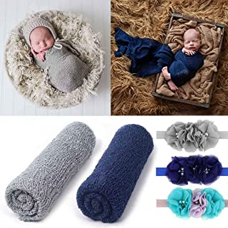 2 Pieces Newborn Baby Photography Props Long Ripple Stretch Wrap DIY Girl Boy Photo Props Blanket with Headbands (Light Grey + Navy)