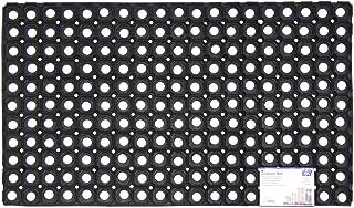 JVL Rondo Rubber Ring Heavy Duty Outdoor Contract Door Mat, Black, 50 x 100 cm