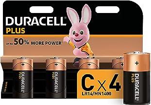 Duracell MN1400 Plus, lot de 4 piles alcalines Type C 1,5 Volts LR14