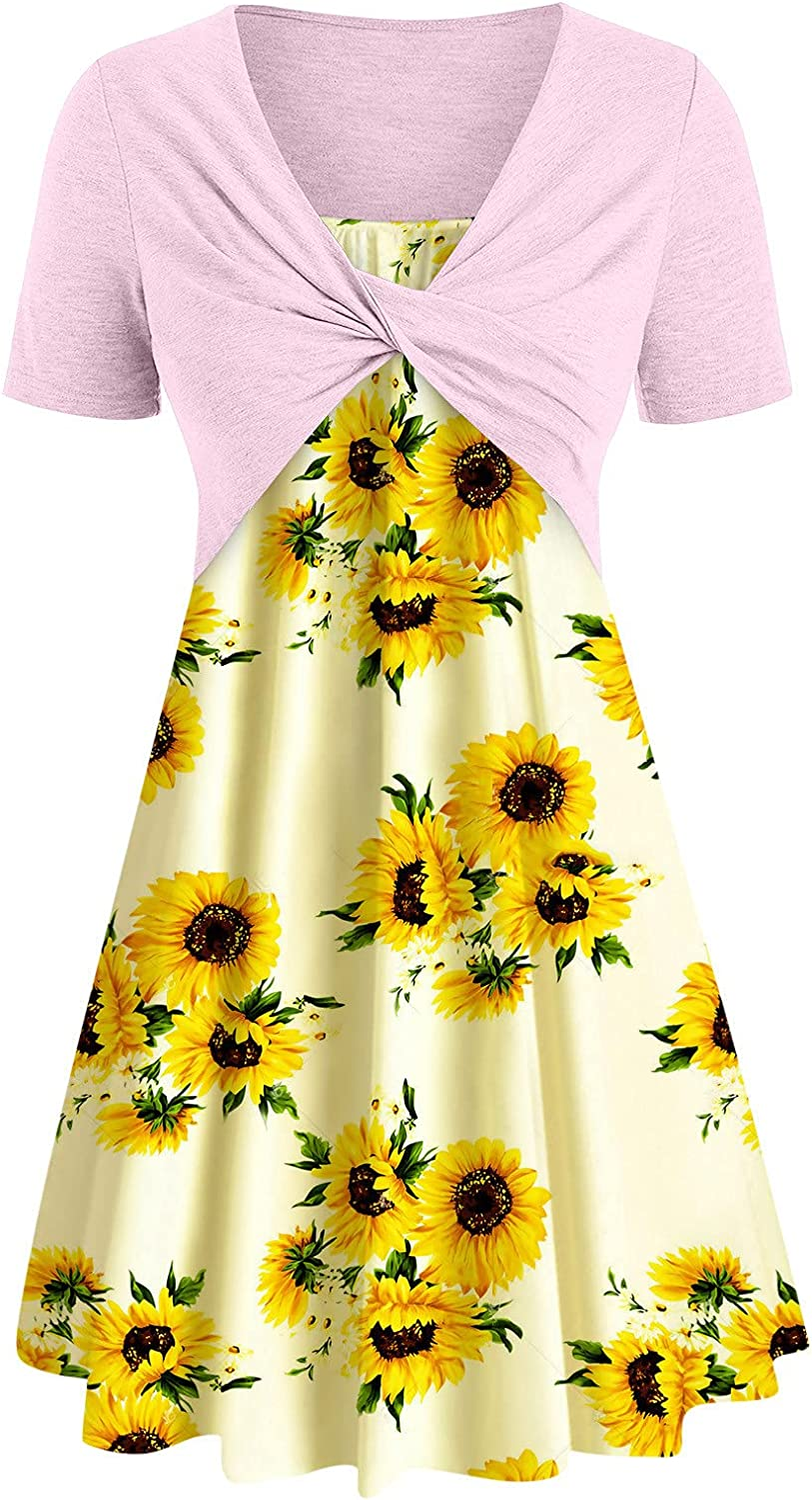 Summer Dresses for Women Outfits Two Piece Sunflower Butterfly Floral Dinosaur Print Suit Dress Cross Knot Bandage Dress