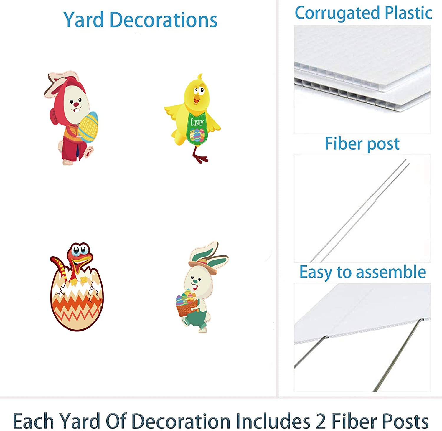 ALINILA Easter Yard Decorations Outdoor Colorful Weather-Resistant Letter Signs with Stakes for Backyard Celebration Party Easter Yard Sign