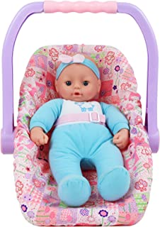 Click N' Play Adjustable Doll Car Seat Carrier Converts from Rocking Bouncer to Regular Feeding Seat Featuring Adorable Re...