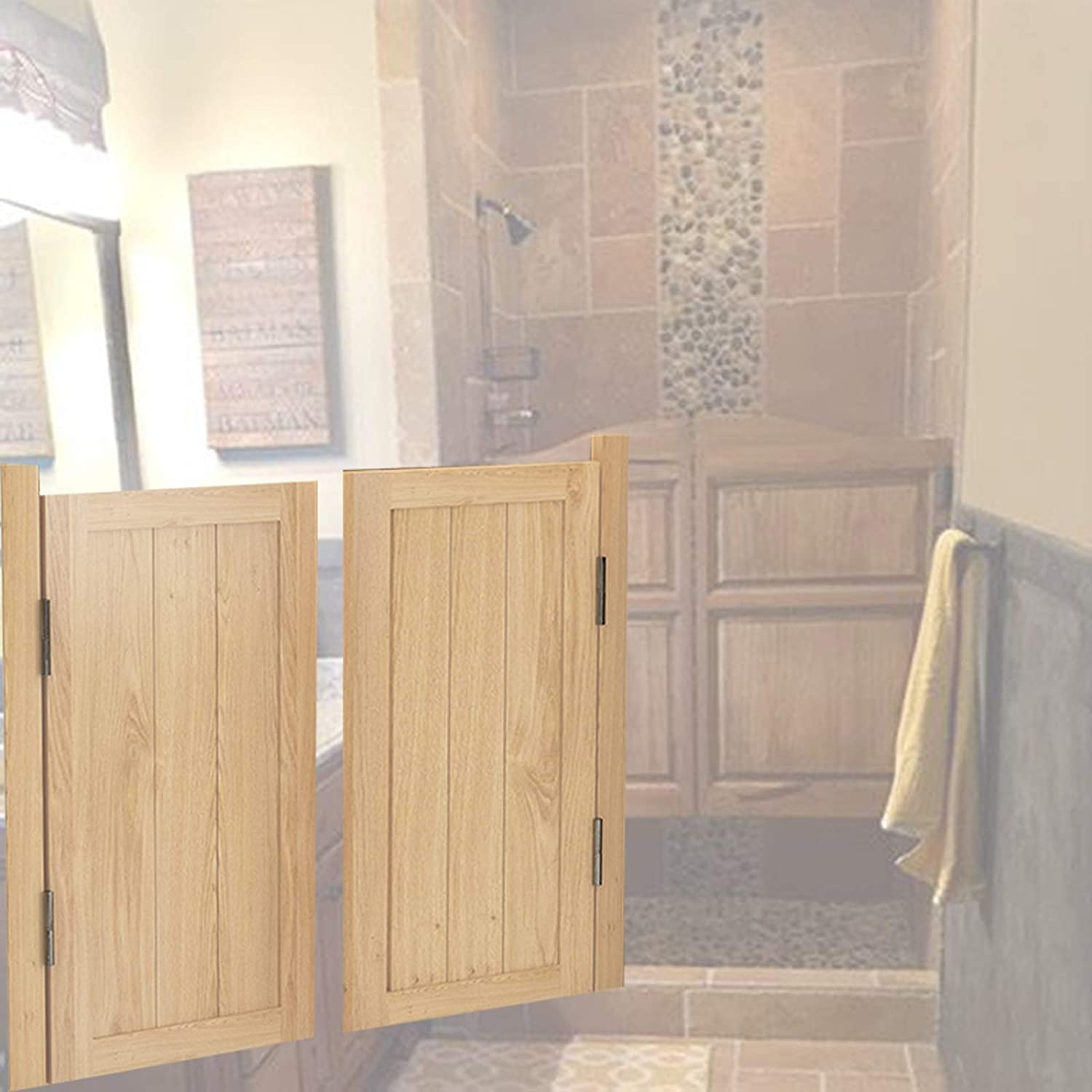 Swinging Café Doors Cheap mail order specialty store Solid Louvered Saloon Partition Wood 25% OFF