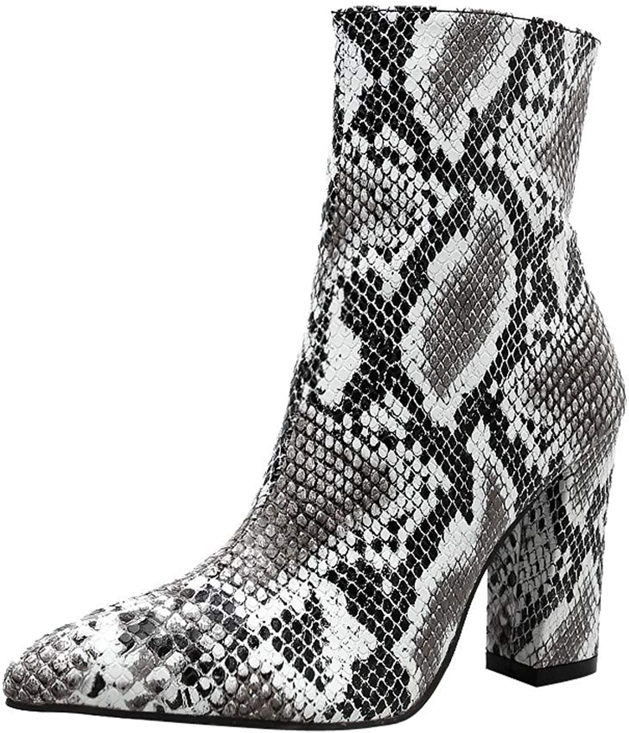 Women Snakeskin High Chunky Heel Boots,Cenglings Leopard Print Pointed Toe Zipper Ankle Boots Pumps Slim Party shoes